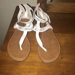 White strappy sandals. Size 10